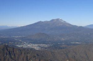 碓氷峠上空から見た浅間山 (手前左下が軽井沢町)