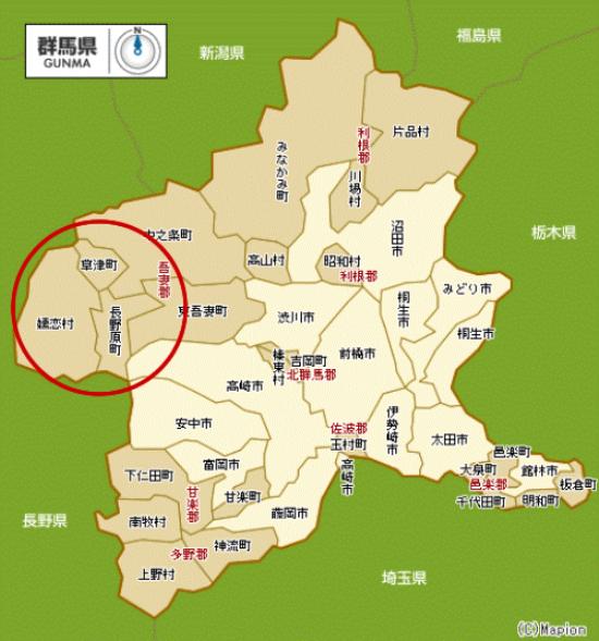 北軽井沢のエリアマップ (群馬県側)