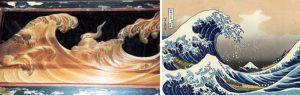 北斎の画風に影響を与えた伊八の「波に宝珠」 (左)と、北斎の富嶽三十六景~「神奈川沖浪裏」 (右)