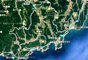 勝浦市の衛星写真