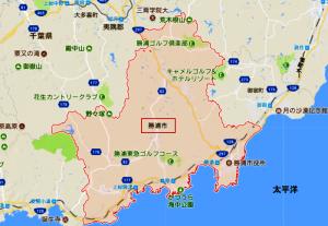 勝浦市の全域マップ