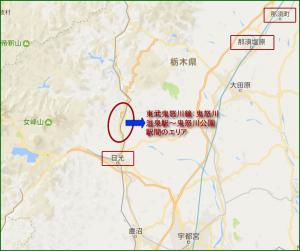 日光市鬼怒川温泉エリアの地形マップ