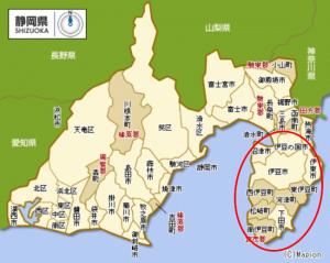 伊豆のリゾートエリアマップ
