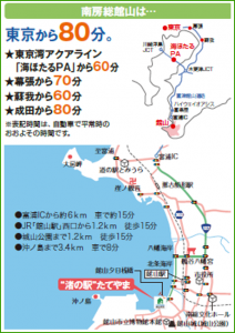 館山へのアクセスマップ