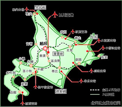 旭川市の主要路線アクセスマップ