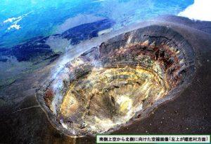 浅間山の釜山火口の空撮画像