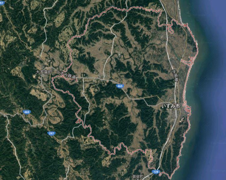 いすみ市の地勢衛星写真