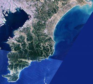房総半島のランドサット衛星写真