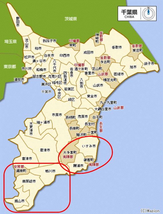 房総のリゾートエリアマップ(南房総=左下と外房地区)