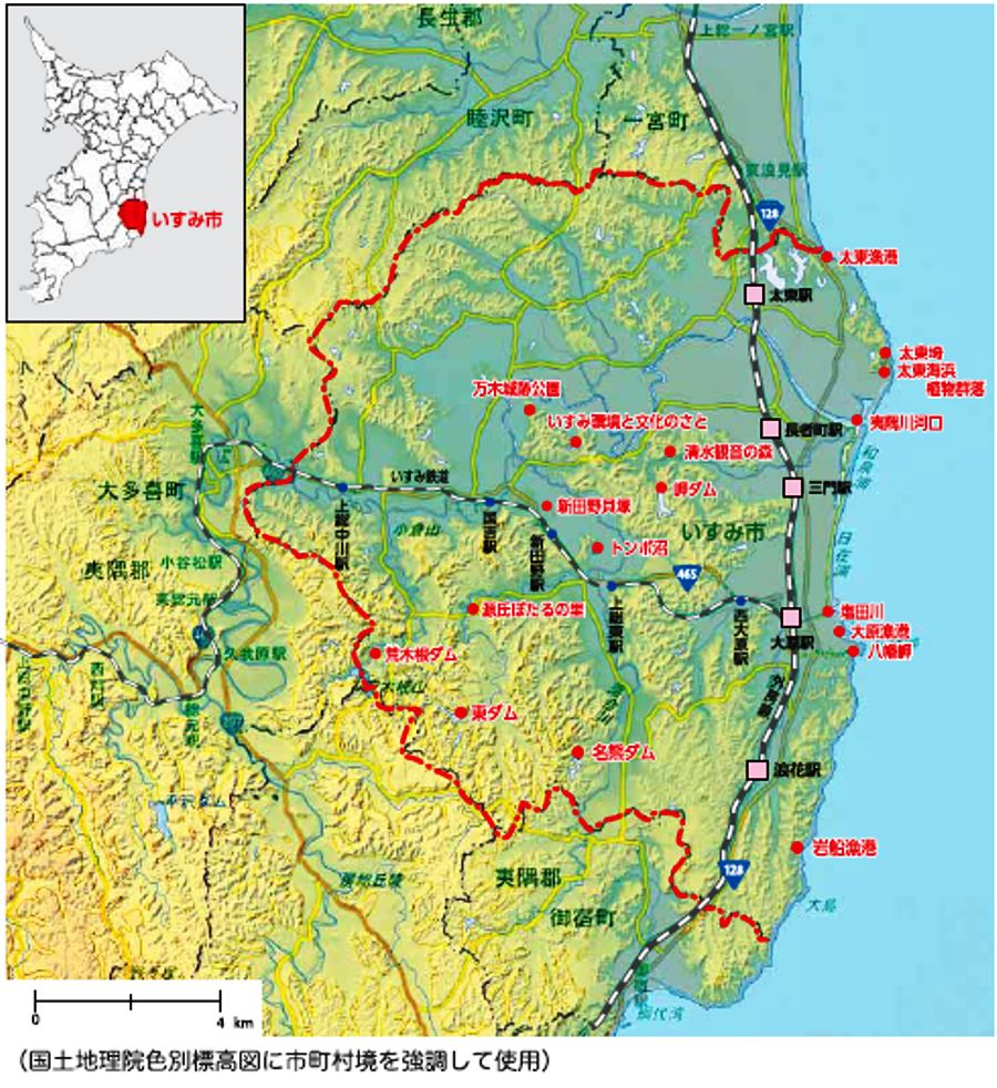 いすみ市の位置と地形環境マップ