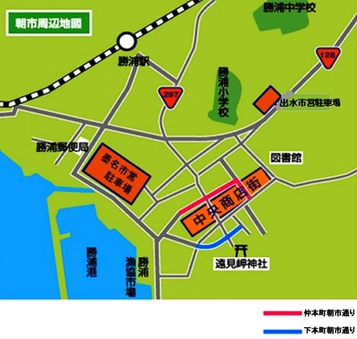 「勝浦朝市」の開催場所マップ