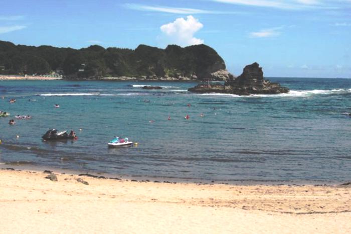 守谷海岸の浜辺から見る渡島